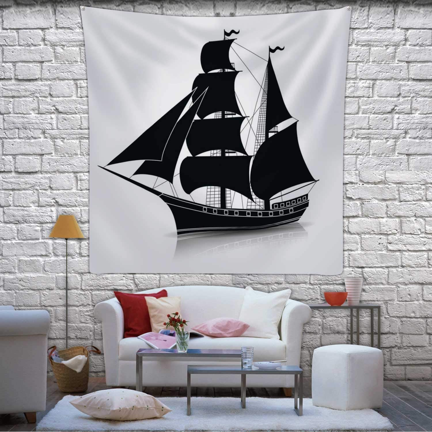 Hitecera Silhouette Vintage Sailing Ship with Reflection Wall Hanging,063097 Bedding Tapestry,59.1x59.1inch