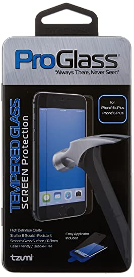 pretty nice 0bce7 18f24 Tzumi ProGlass for iPhone 6 Plus, – Premium High Definition Tempered Glass  Screen Protector with Application and Cleaning Kit – for HD Clarity, ...