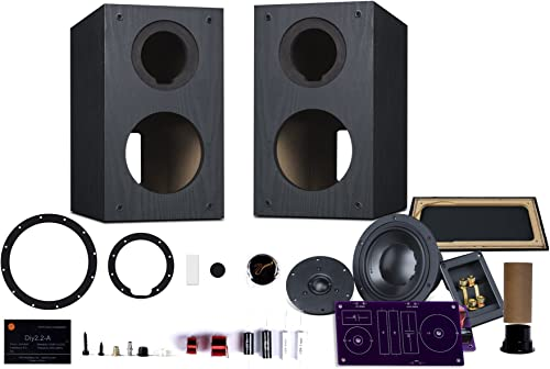 HiVi – DIY 2.2A 2-Way Bookshelf Speaker Kit – Braced Wooden Cabinet – Pair Black 2-Year Warranty – SwansKits