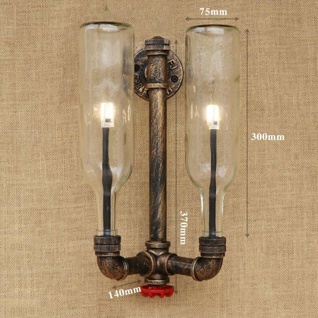 Meiya lamp Kreative Wandlampe, Eisen-Kunst-Wasser-Rohr-Retro- Art-Innenwand-Lampen-Schlafzimmer-Nachttisch-Technik-Wand-Licht E27 einzelner doppelter Kopf (Farbe   E)