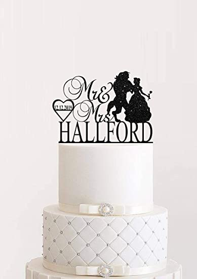 Enchanted Rose anniversary cake topper Mr and Mrs topper Beauty and the Beast Cake Topper Personalized wedding topper