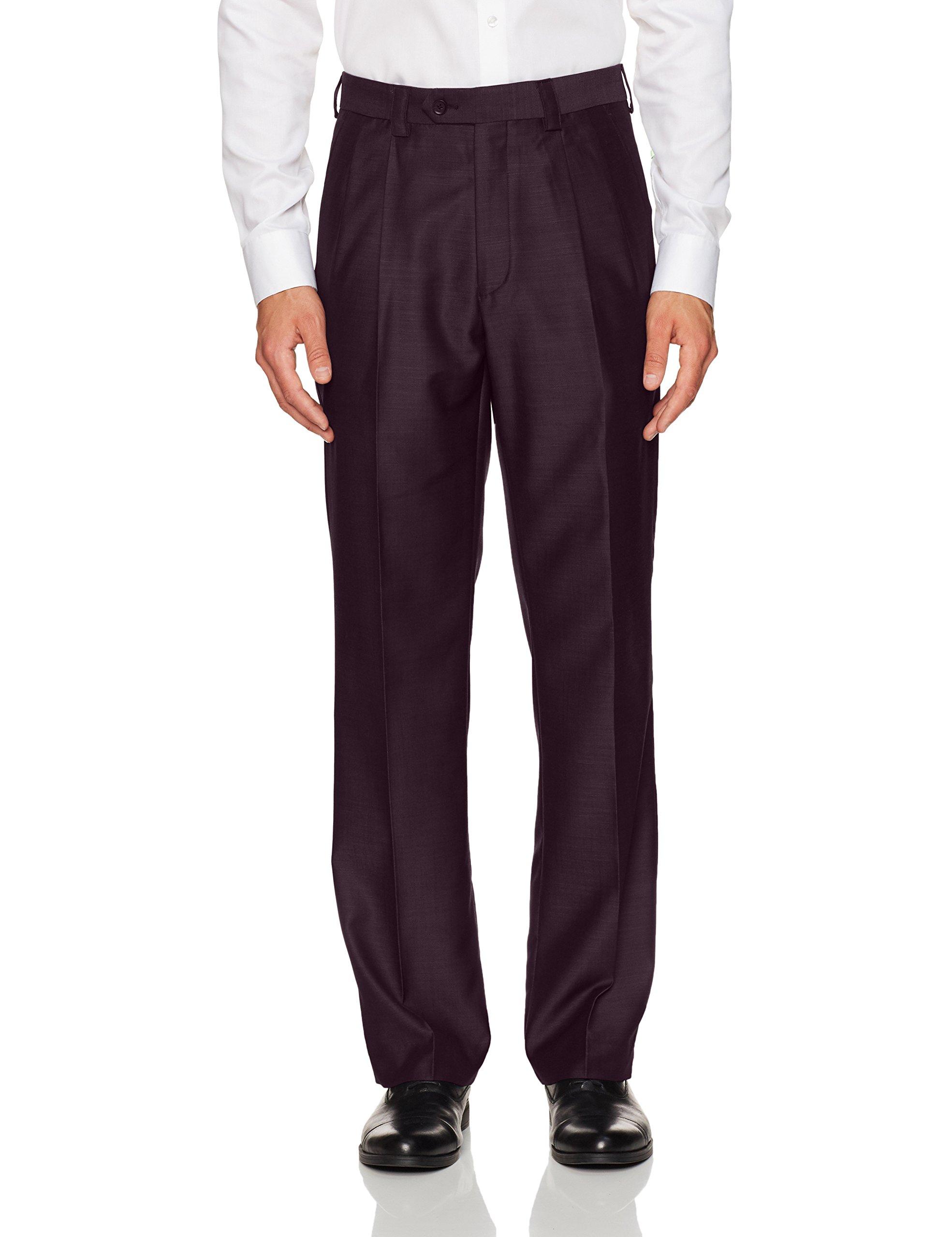 Steve Harvey Men's Solid Regular Fit Suit Seperate Pant, Merlot, 36Wx34L