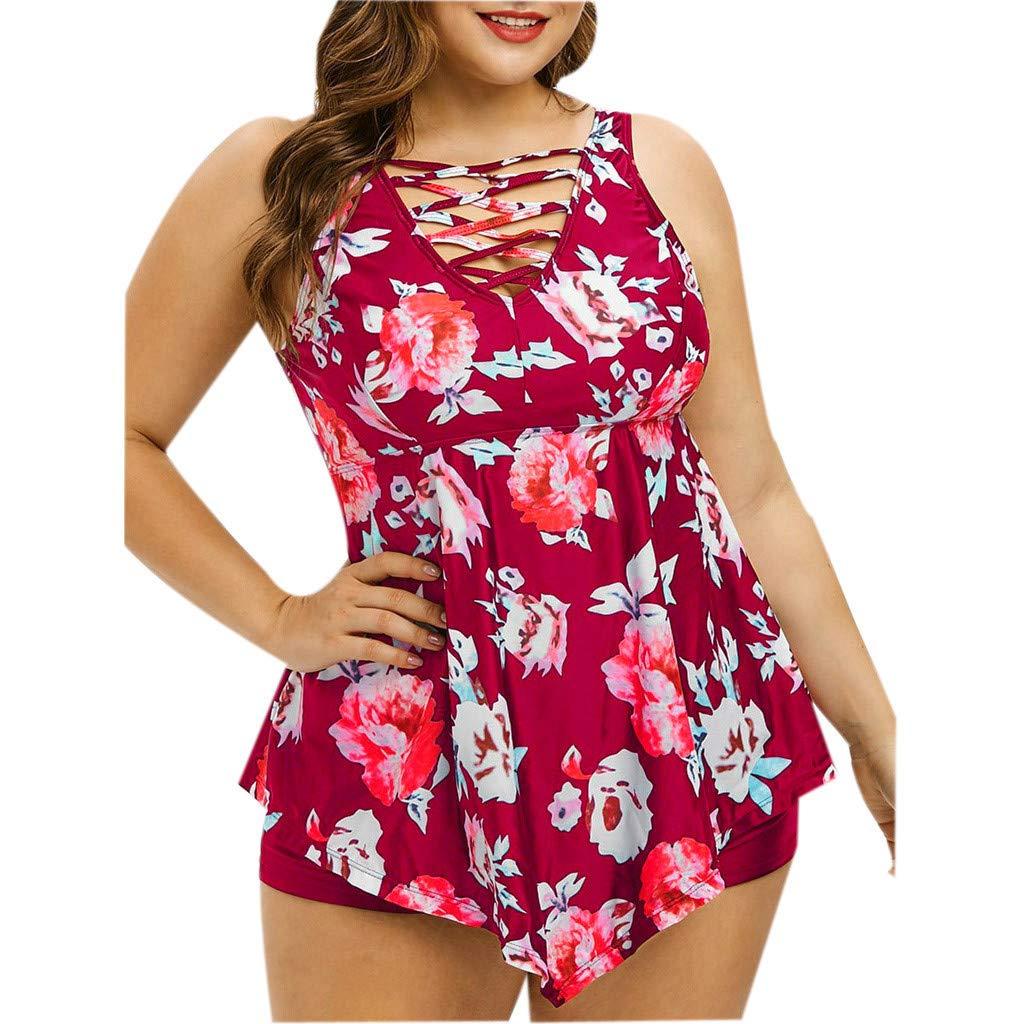 LOMONER Womens Plus Size One Piece Swimsuit Monokini Push-up Padded Swimwear Beachwear 2019 by LOMONER