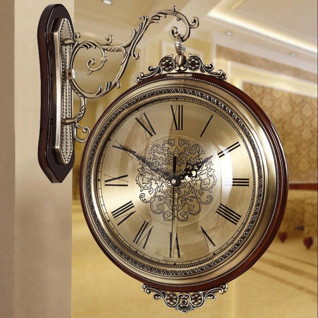 GAOLILI 新しい両面壁時計リビングルーム時計現代のソリッドウッドレストランクロックミュート両面時計 ( 色 : B ) B07CC3WNY9 B B