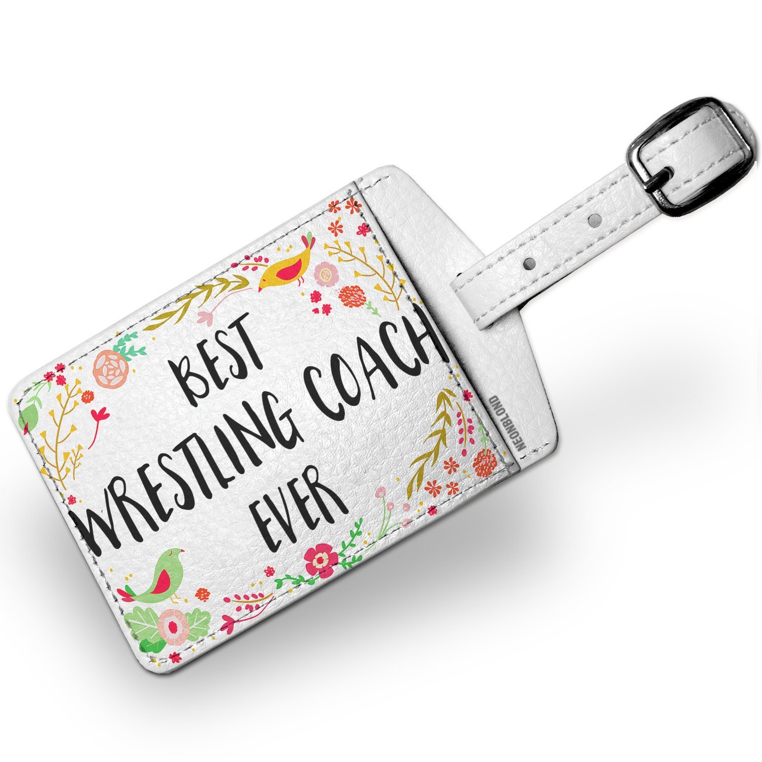 Luggage Tag Happy Floral Border Wrestling Coach - NEONBLOND