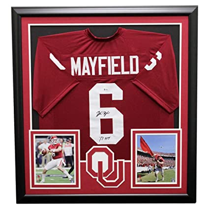 2ec379a9cb6 Image Unavailable. Image not available for. Color  Baker Mayfield Oklahoma  Sooners Framed Autographed Signed Jersey ...