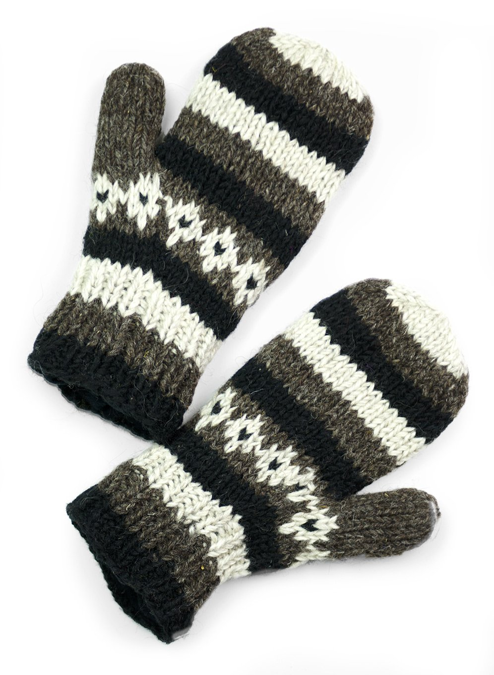 TCG Women's Hand Knit Wool Vintage Striped Mittens - Charcoal & Black