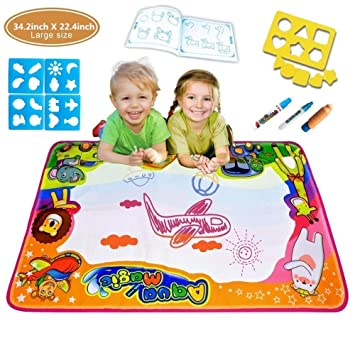 Large Aqua Magic Doodle Pad, 6 colores Water Drawing Mat Pintura para niños Board 34.2 x ...