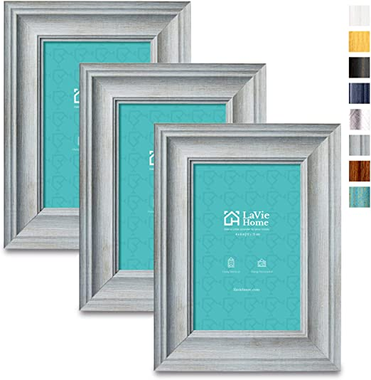 3 Pack,Dark Gray LaVie Home 4x6 Picture Frames Set of 3 Alice Collection Wood Texture Photo Frame Set with High Definition Glass for Wall Mount /& Table Top Display