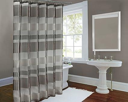 Amazon Metallic Stripe Woven Sheer Shower Curtain Horiz And
