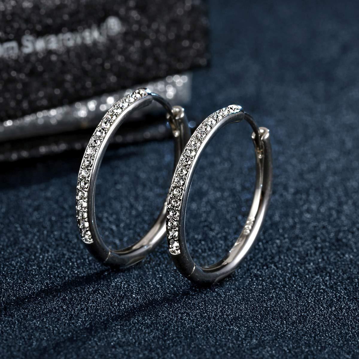 b99e63b6e YOURDORA Women Plated 18ct White Gold Swarovski Crystals Large Hoop Earrings  Sleeper Hinged 25mm: Amazon.co.uk: Jewellery