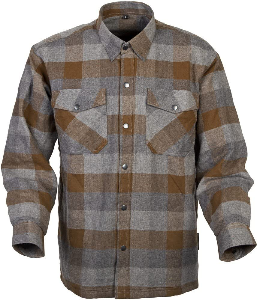 Scorpion Covert Flannel Reinforced/Kevlar Lined Protective Shirt (Tan/Brown, Large)