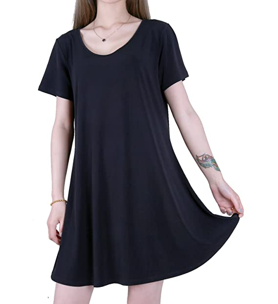 Favelem Womens Short Sleeve Comfy Flowy Long Tunic Loose Fit T