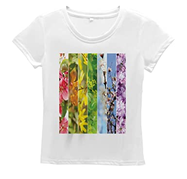 Lunarable Tree Women S T Shirt Blooming Habitat Botany Fruit Short