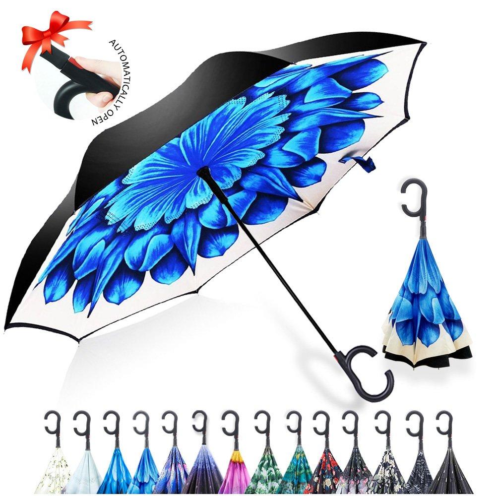 Automatisch Geöffnet Reversion Regenschirm, Innovative Double Layer Winddicht Schirm Freie Hand Inverted Stockschirme mit C Griff für für Reisen und Auto Outdoor di ZOMAKE (Blaue Blume)