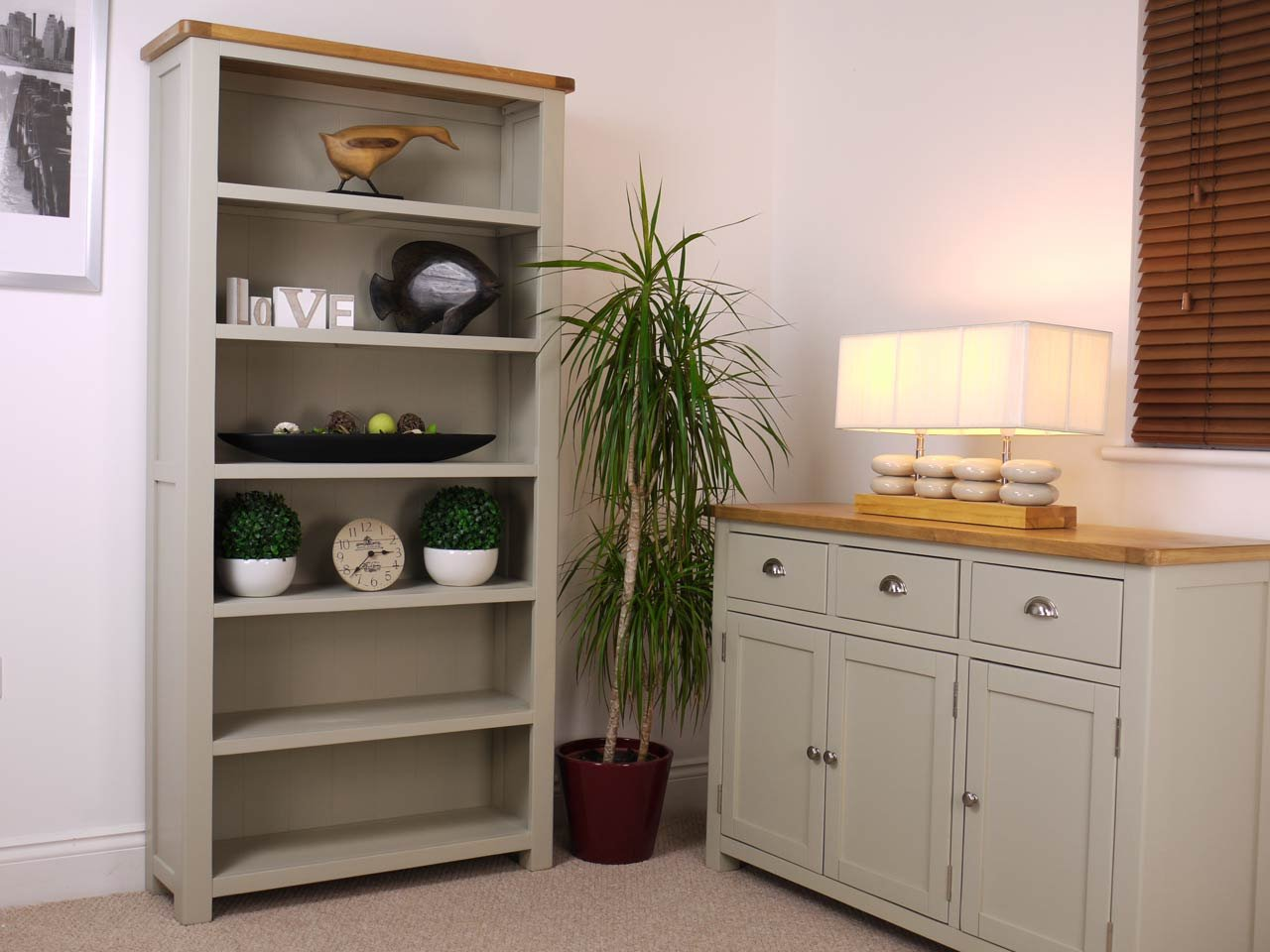 Aspen Painted Oak Sage/Grey Bookcase/Tall 6 Shelf Bookcase/Storage Display  Unit: Amazon.co.uk: Kitchen U0026 Home