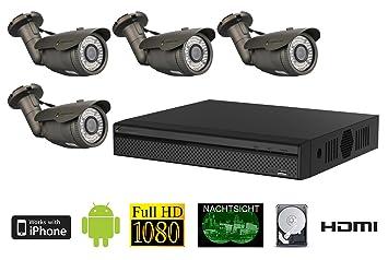 FULL HD 1080 P HDCVI 4 canales de vídeo de vigilancia de 4 cámaras de vigilancia exterior de madera maciza con objetivo: Amazon.es: Bricolaje y herramientas