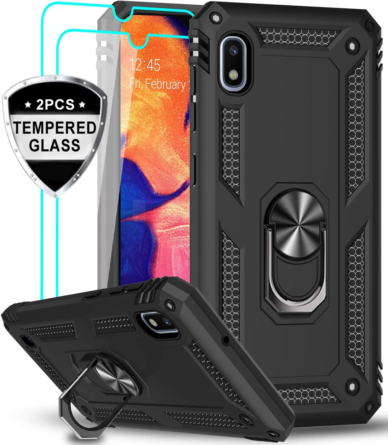 LeYi Samsung Galaxy A10 Case (Not Fit A10E) with Tempered Glass Screen Protector [2 Pack], Military Grade Defender Protective Phone Case with Car Ring Holder Kickstand for Samsung A10, JSFS Black