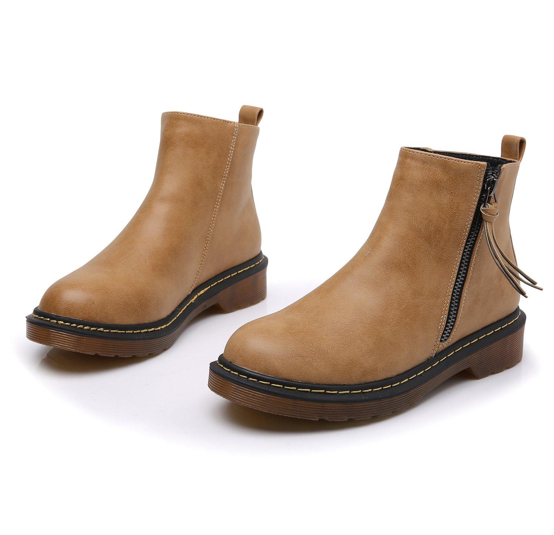 Smilun Kids¡¯s Chelsea Ankle Chelsea Boots Zip Flats Low Heel with Block Western Chunky Heel Chelsea Boots Zip for Kids Brown US6 by Smilun (Image #6)