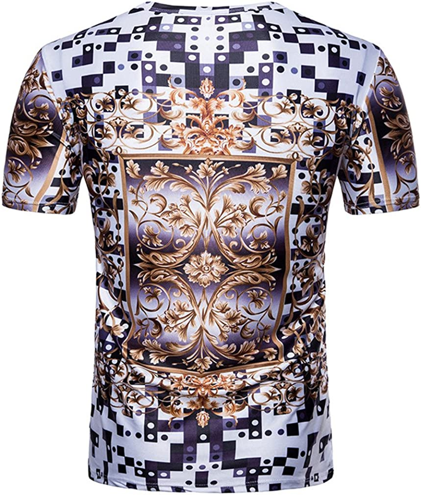 Usopu Mens Summer Casual Daily Sports Printing Round Collar Polyester Short Sleeve T-Shirt