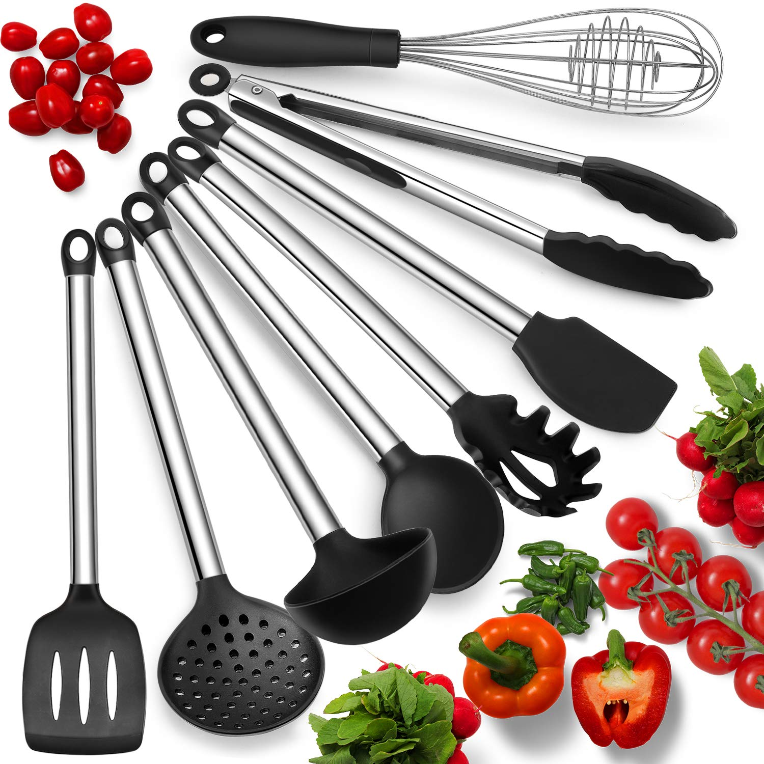 Silicone Kitchen Utensils With Stainless Steel Handles – Set Of 8 Heat Resistant & Nonstick Cooking Tools – Tongs, Serving Spoon, Whisk, Spatula, Ladle, Slotted Turner, Spatula, Handheld Skimmer