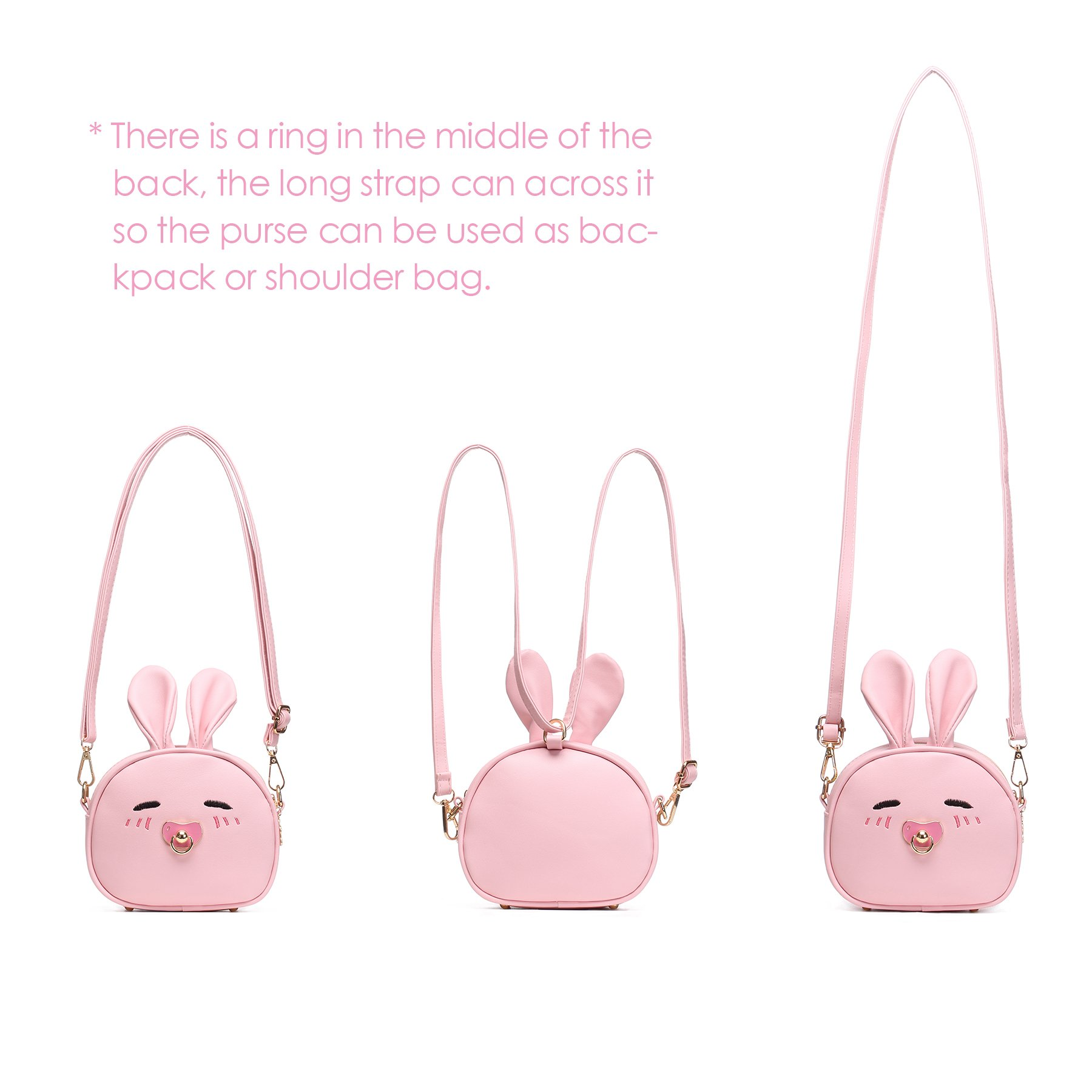 CMK Trendy Kids My First Purse for Toddler Kids Girls Cute Shoulder Bag Messenger Bags with Bunny Ear and Double Slide Zipper Novelty Birthday Gift (82011_Pink) by CMK Trendy Kids (Image #5)