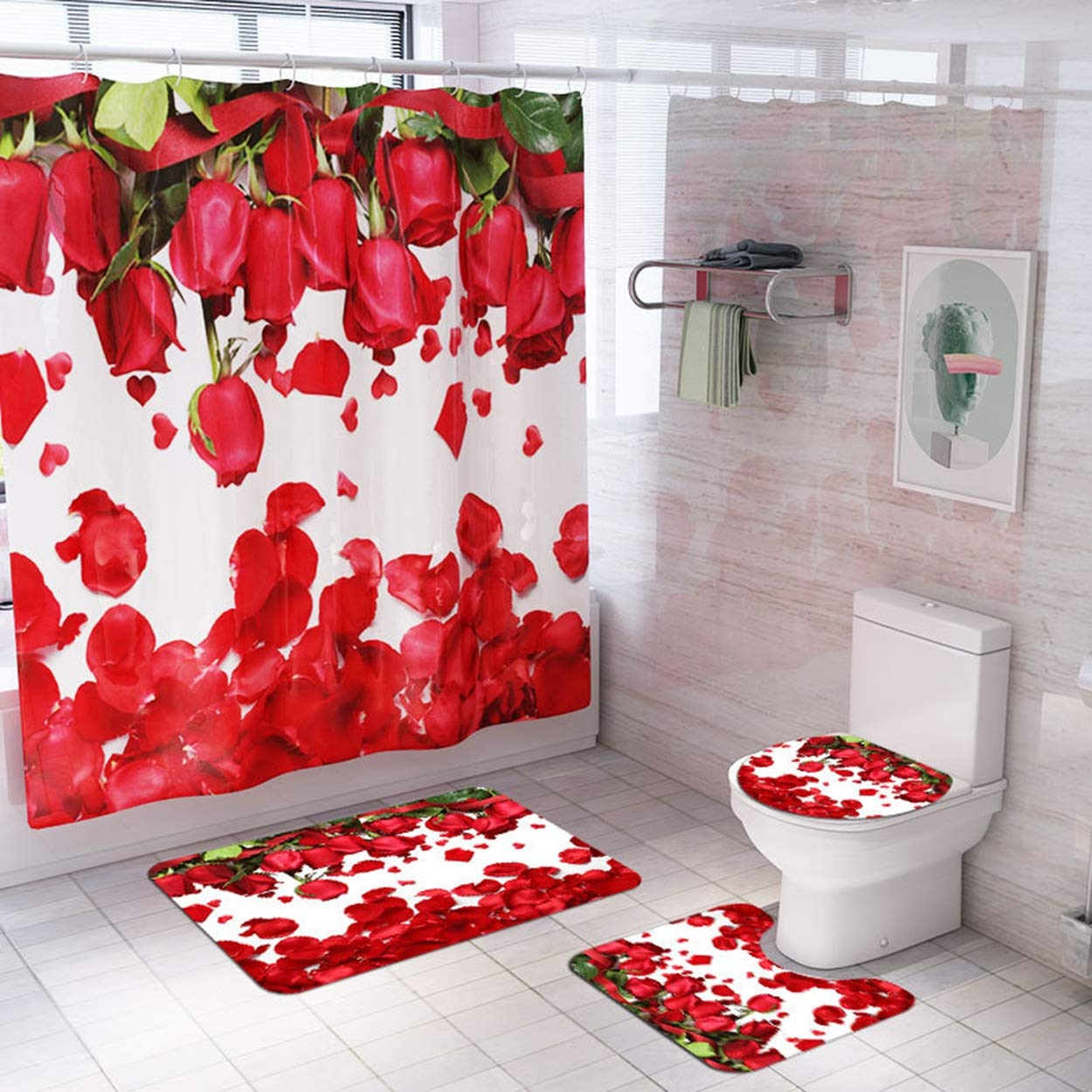 Z&S Shower Curtain + Carpet (Set of 4), Rose Petals Pattern Modern Home Non-Slip Bathroom Mat 180 180Cm