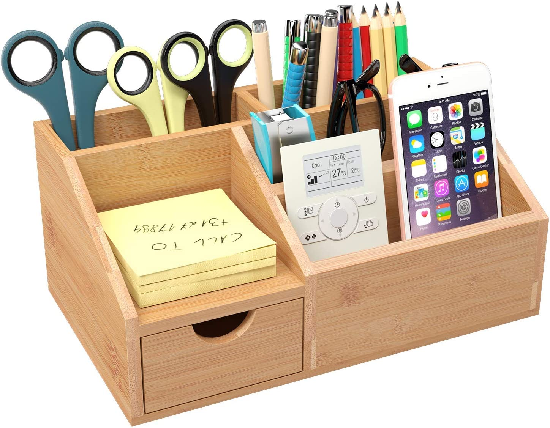 Homfa Bamboo Desk Organiser Desk Tidy Pen Holder Letter Rack Stationary  Makeup Storage 43x43x43cm