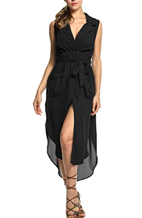 Zeagoo Women's Summer Sexy Stretch Ruched Sundress Fold Bodycon Midi Tank  Dress,Black,Small