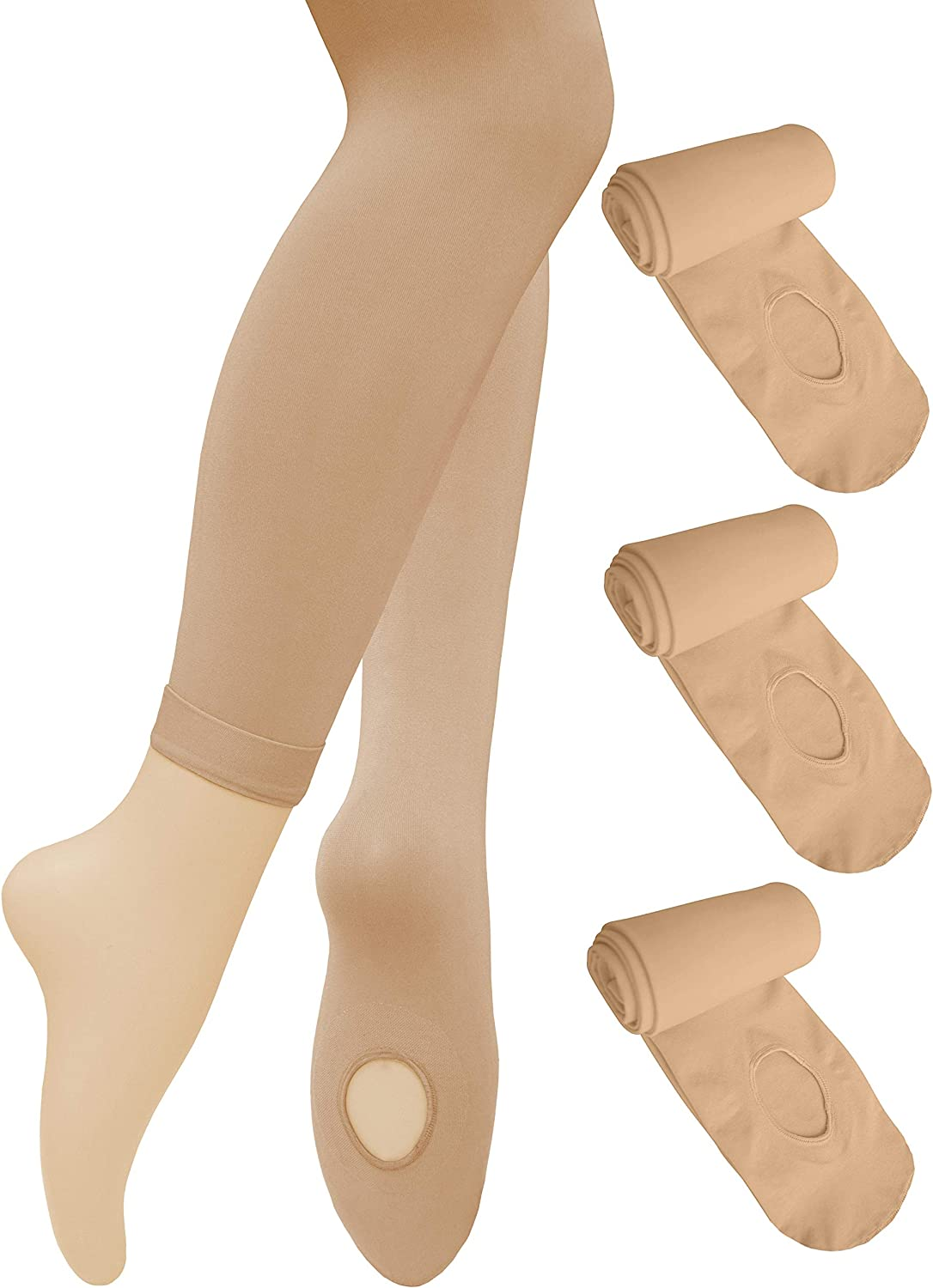 Dancina Dance Ballet Tights for Girls & Women - Ultra-Soft Convertible Transition Tights at  Women's Clothing store