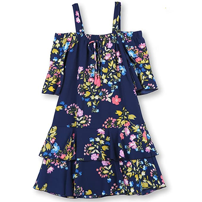 fa6229ffcac0 Amazon.com  Speechless Girls  Big Shoulder Tiered Dress  Clothing