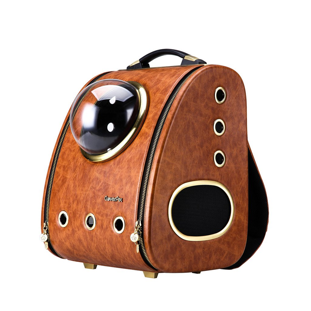 CloverPet Luxury Pet Travel Bubble Sporty Carrier Backpack for Cats Dogs Puppy,Brown