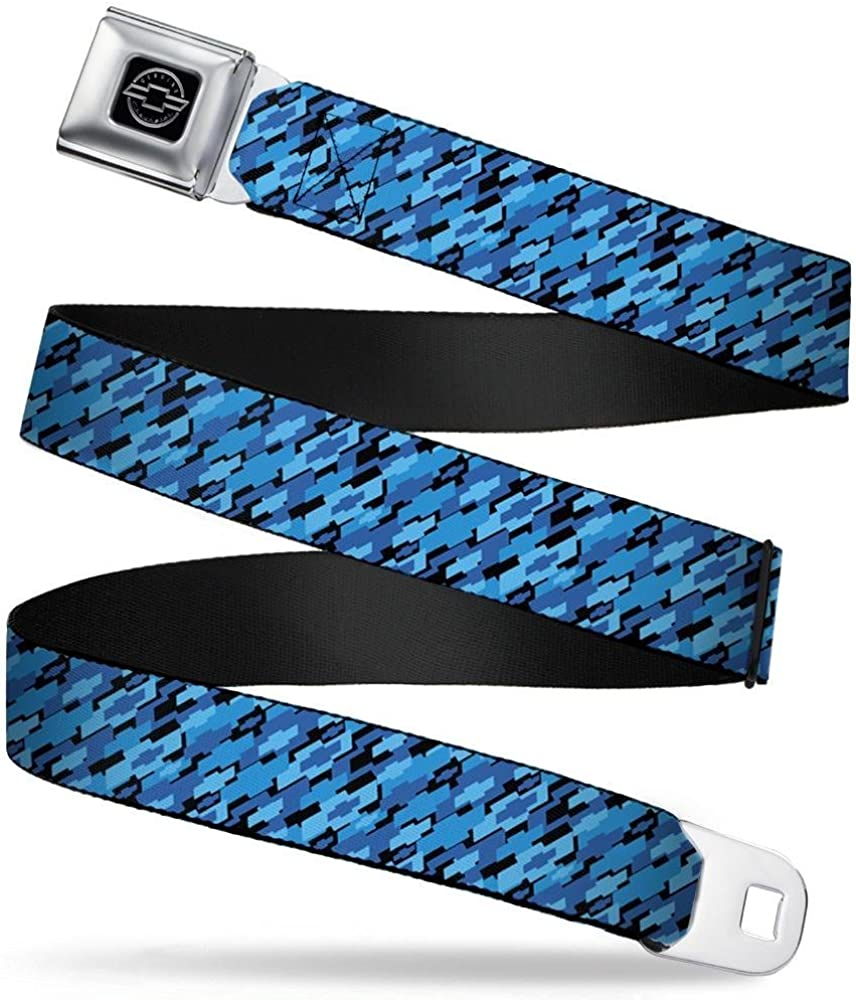 Diagonal Retro Chevy Bowtie Stacked Black//Blues 1.0 Wide Buckle-Down Seatbelt Belt 20-36 Inches in Length
