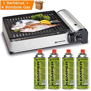 Barbacoa gas Smart Kemper 104997 + 4 bombonas gas butano