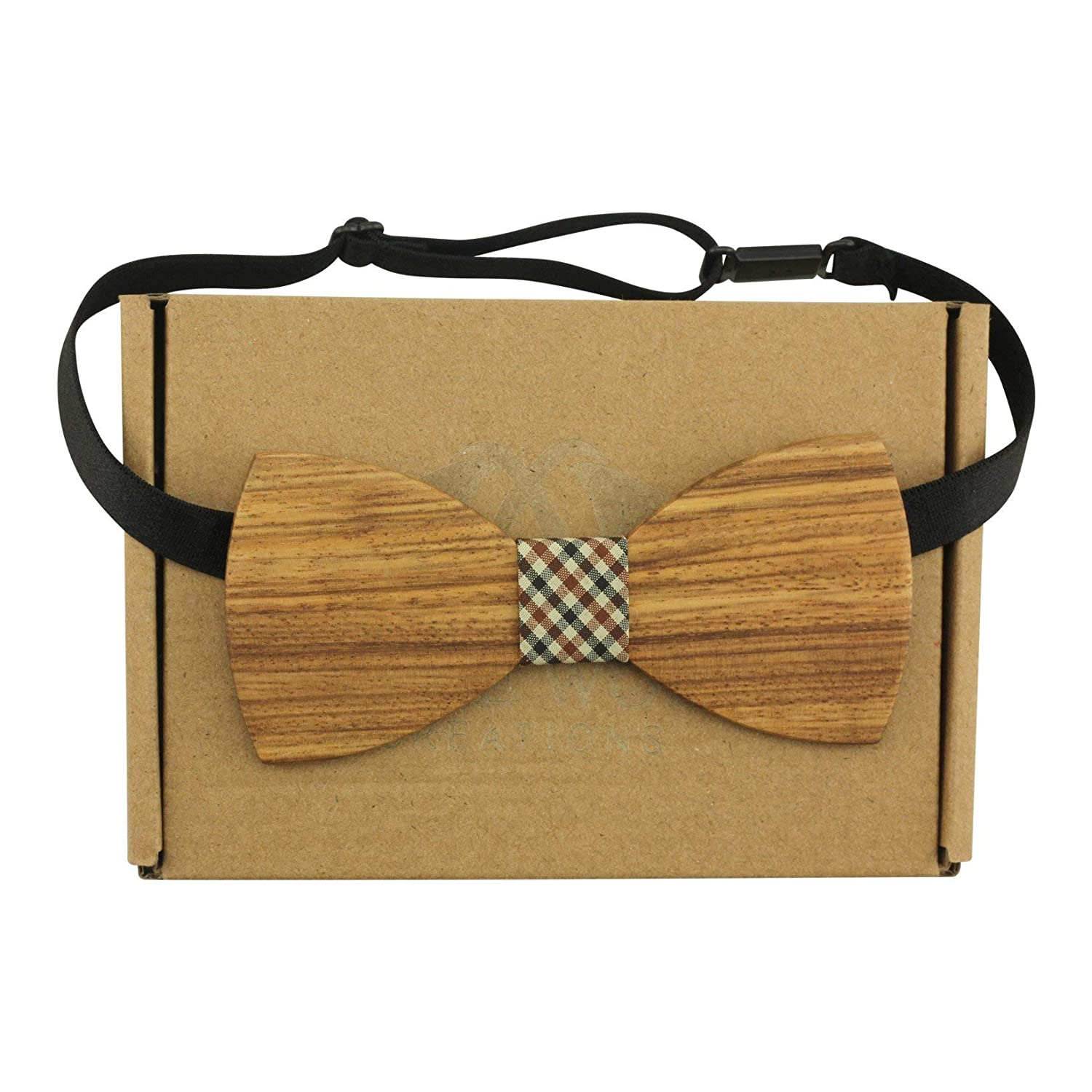 Adult-Sized Large Round Wooden Bow Tie with Brown Denim Centre