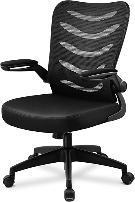 Comhoma Desk Chair Ergonomic Office Chair Mesh Computer Chair With Flip Up Arms Lumbar Support Adjustable Swivel Mid Back For Conference Home Office Black Furniture Decor