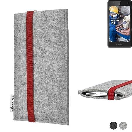 flat.design Handy Hülle Coimbra für Fairphone Fairphone 2 individualisierbare Handytasche Filz Tasche rot grau
