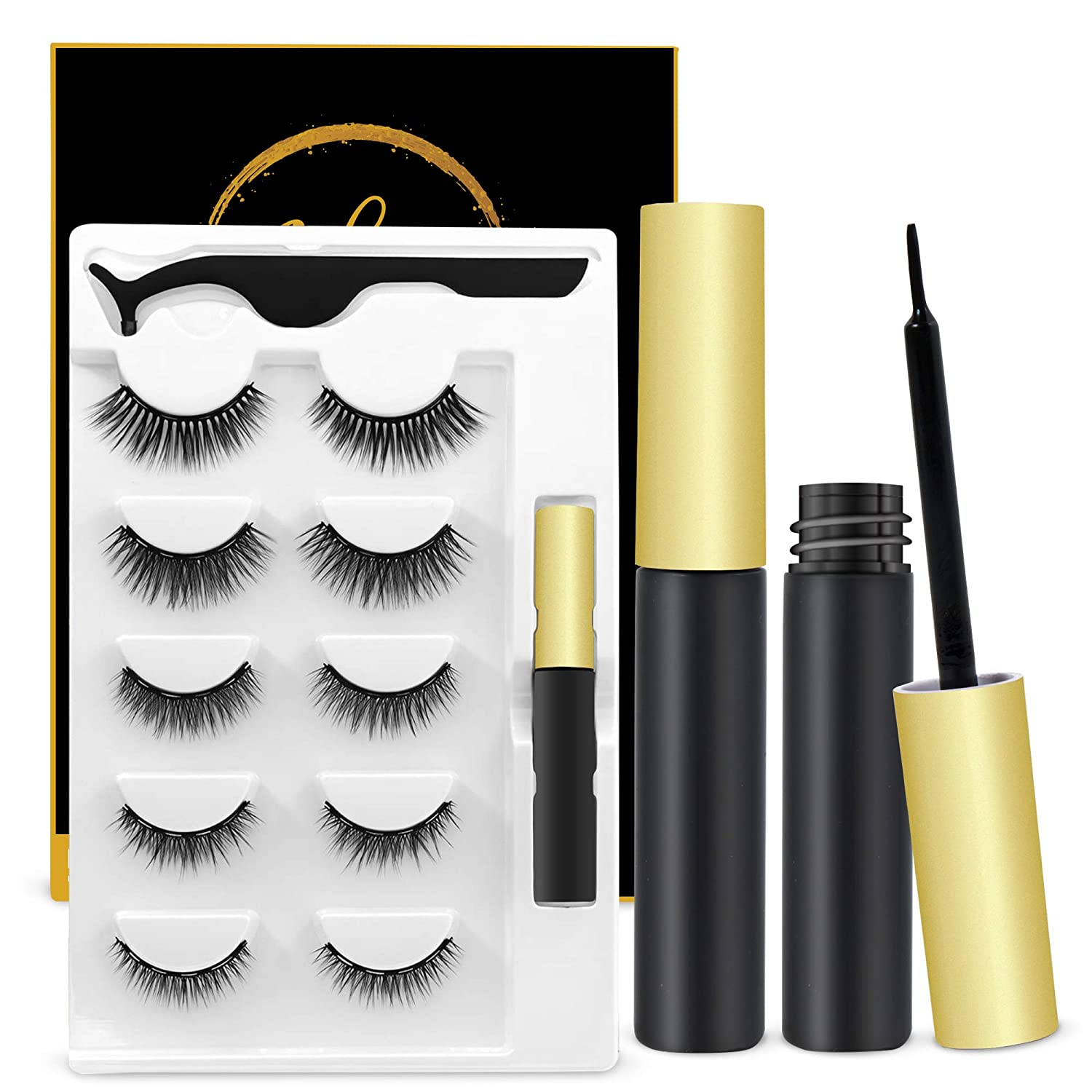Magnetic Eyelashes With Eyeliner Kit, Reusable, Cuttable, Waterproof Sweat-Proof, Smudged Free, Natural Glamorous Looking For All Occasions, 5 Pairs