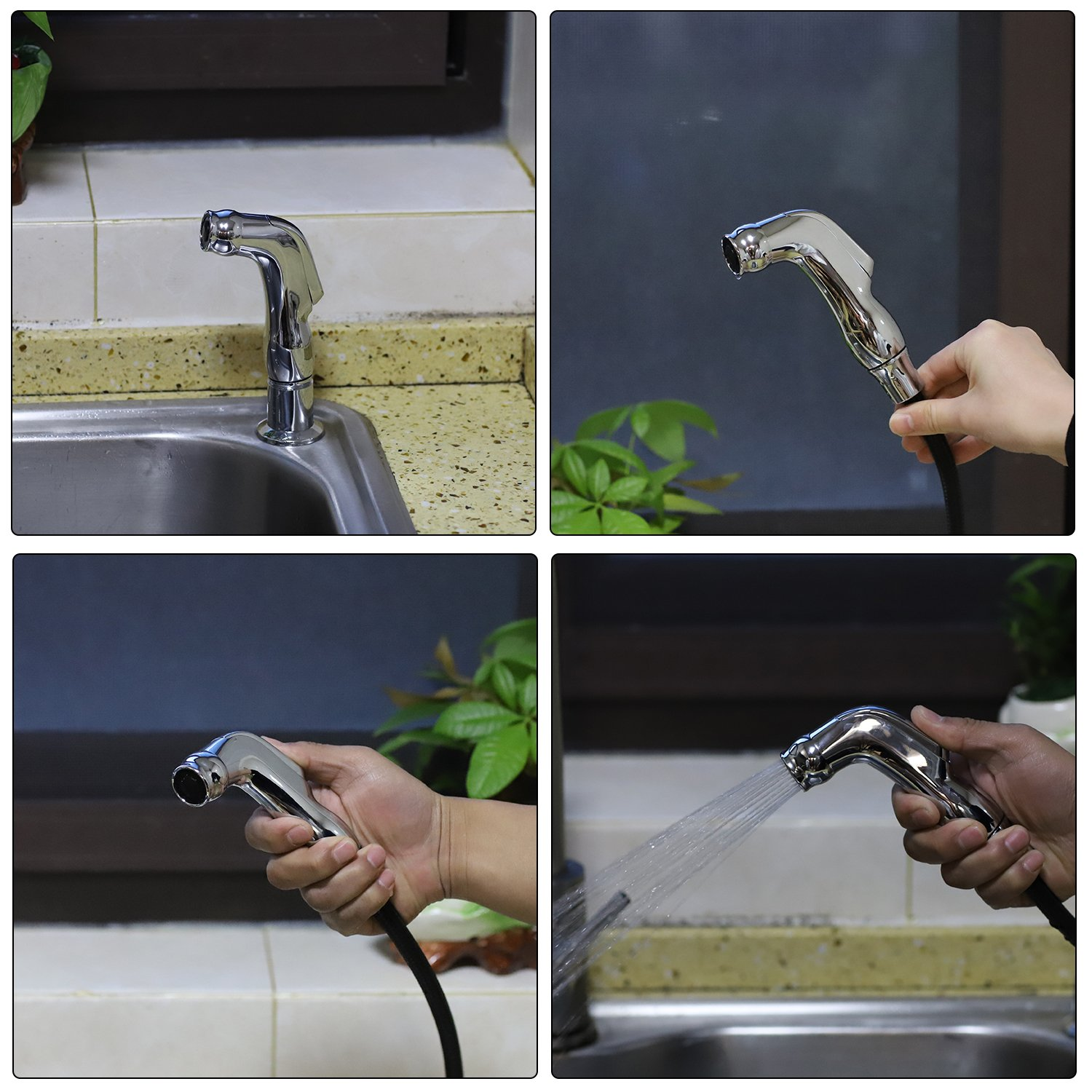 Kitchen Faucet Side Spray with Hose Series Spray Head and Hose Assembly(Polished Sprayer Head) by CLEESINK