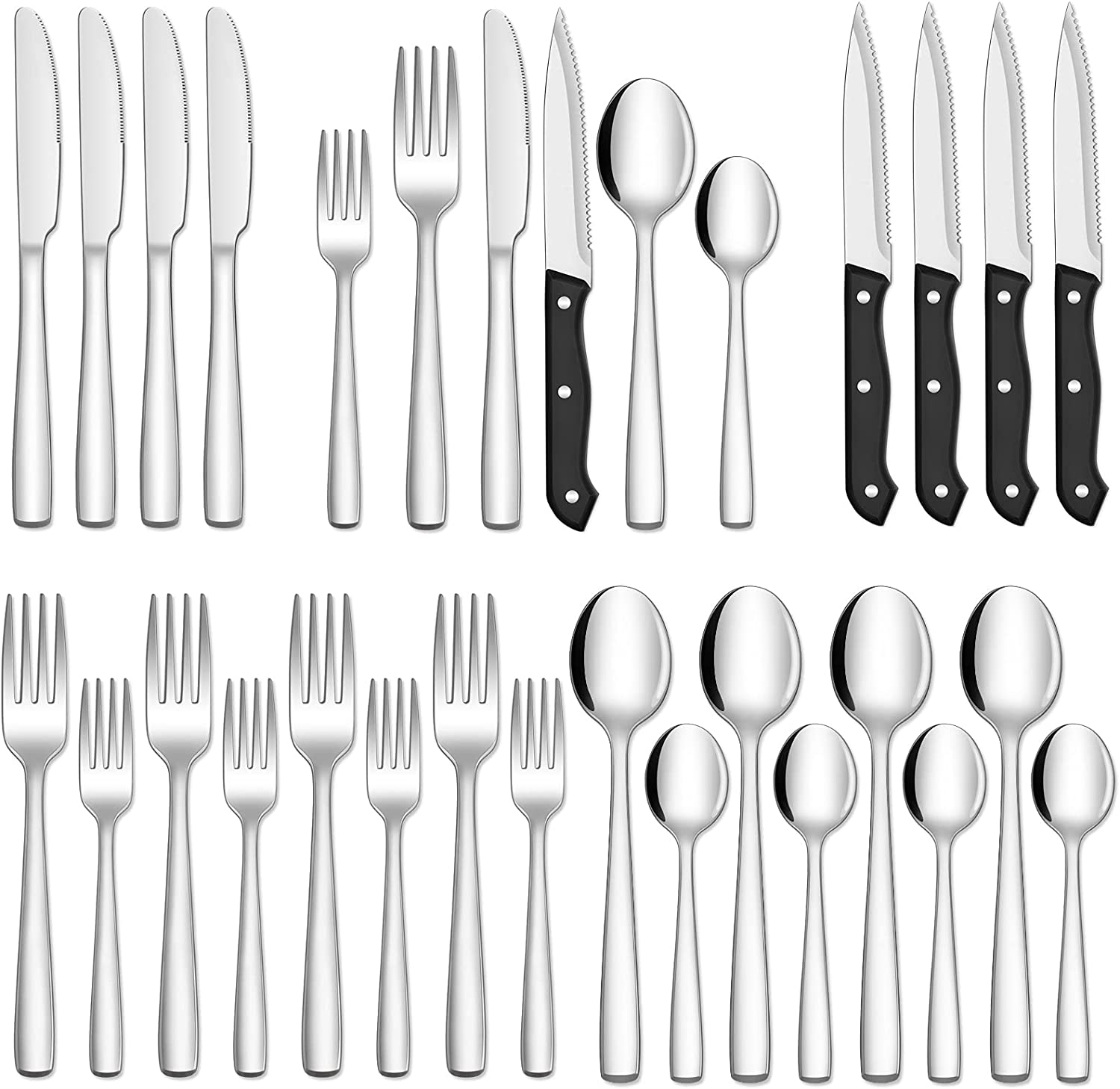 Silverware Set, 24 Pcs Silverware Flatware Set with Steak Knives, Food Grade Stainless Steel Silverware Cutlery Set For Home Kitchen Restaurant Hotel, Mirror Polished, Dishwasher Safe - Service for 4