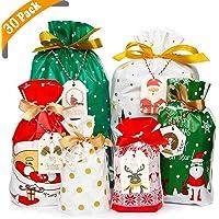 Yiran Lot de 30 sacs cadeaux de Noël avec cordon de serrage assortis pour emballage cadeau de Noël Lot de 30.