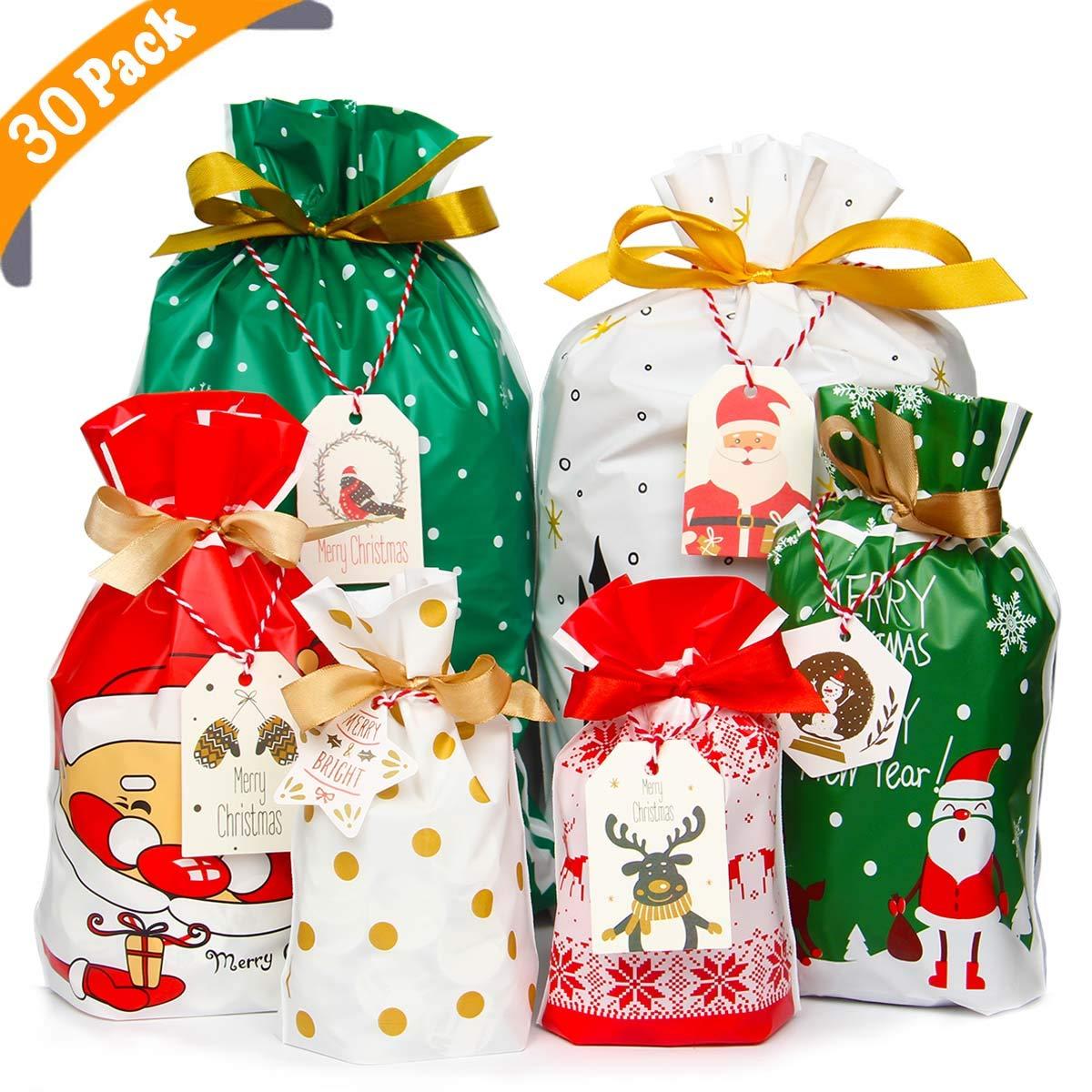 confezione da 30 pezzi Grande. con chiusura a cordoncino Yiran Sacchetti regalo natalizi assortiti