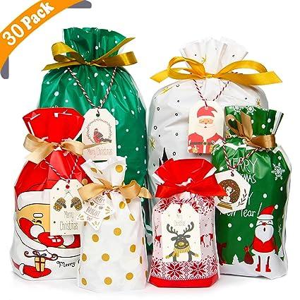 YiRAN Bolsas de regalo con cordón navideño 30 piezas Bolsas ...