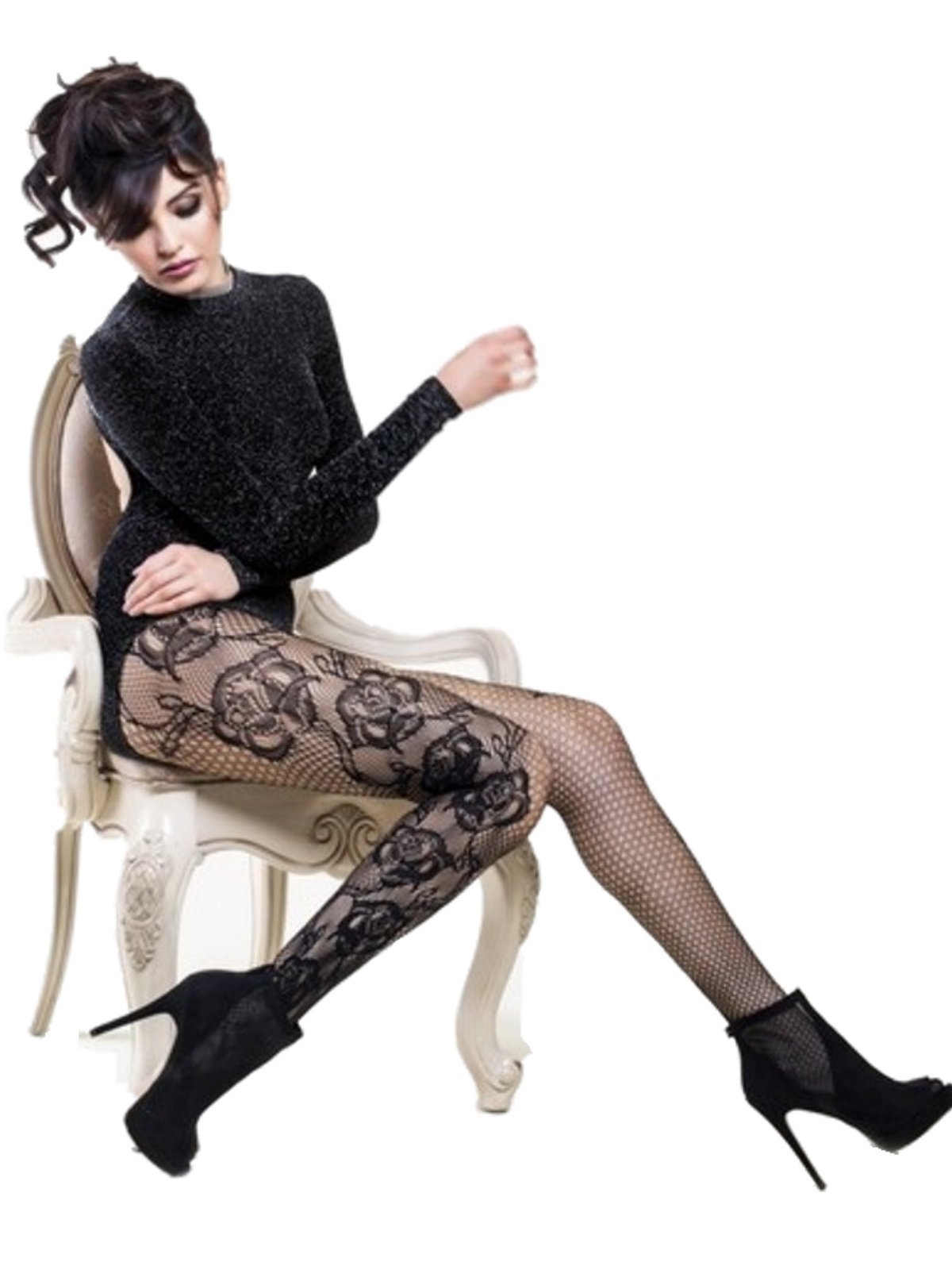Yelete Killer Legs Women's Queen Plus Size Fishnet Pantyhose 168YD058Q, Black, Etched Side Roses