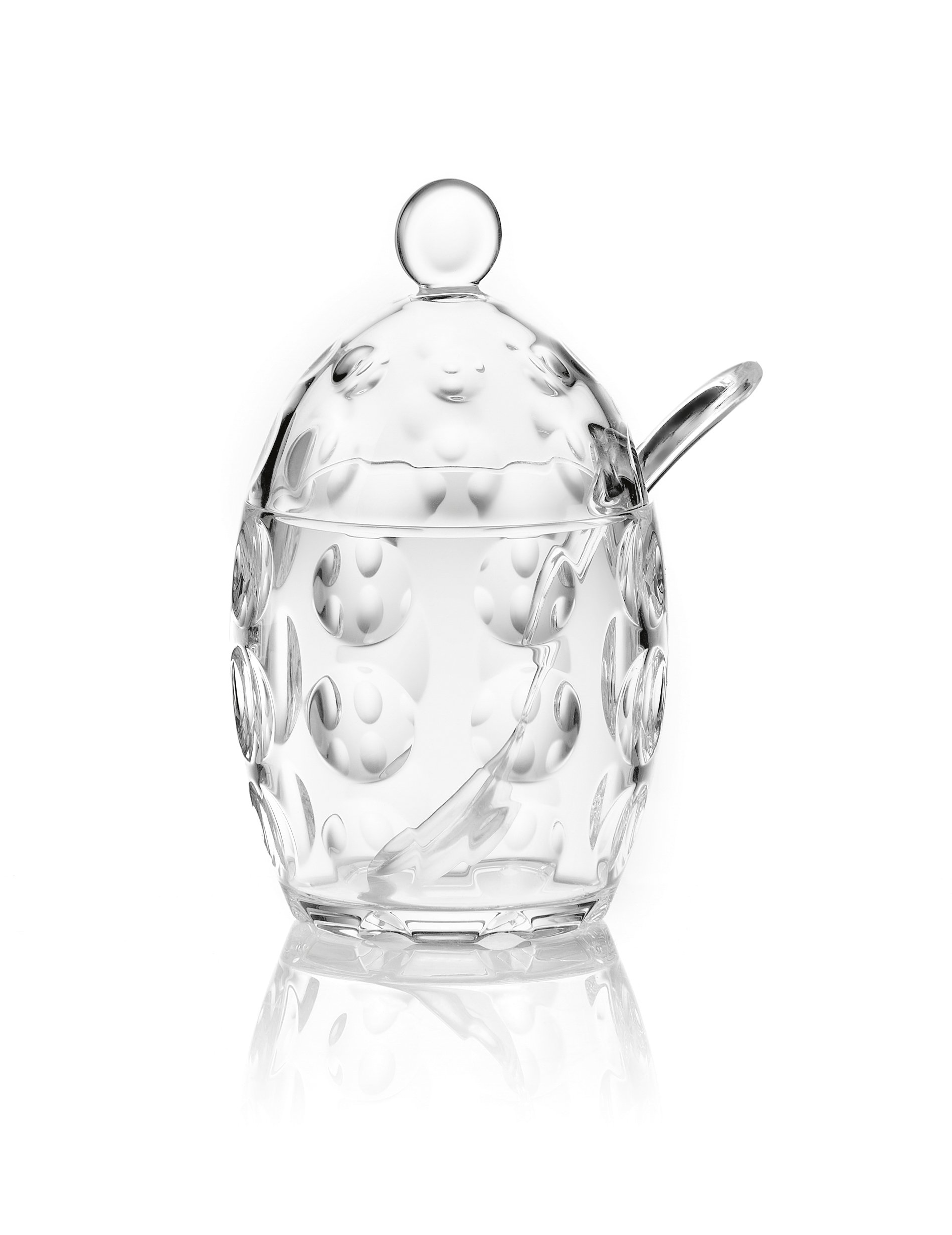Guzzini Venice Collection Sugar Bowl with Teaspoon, 7-3/4-Fluid Ounces, Transparent