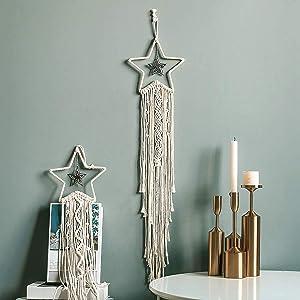 Enmolove Macrame Wall Hanging Dream Catcher Bohemian Home Decor Tassel Wall Hangings Beige Star