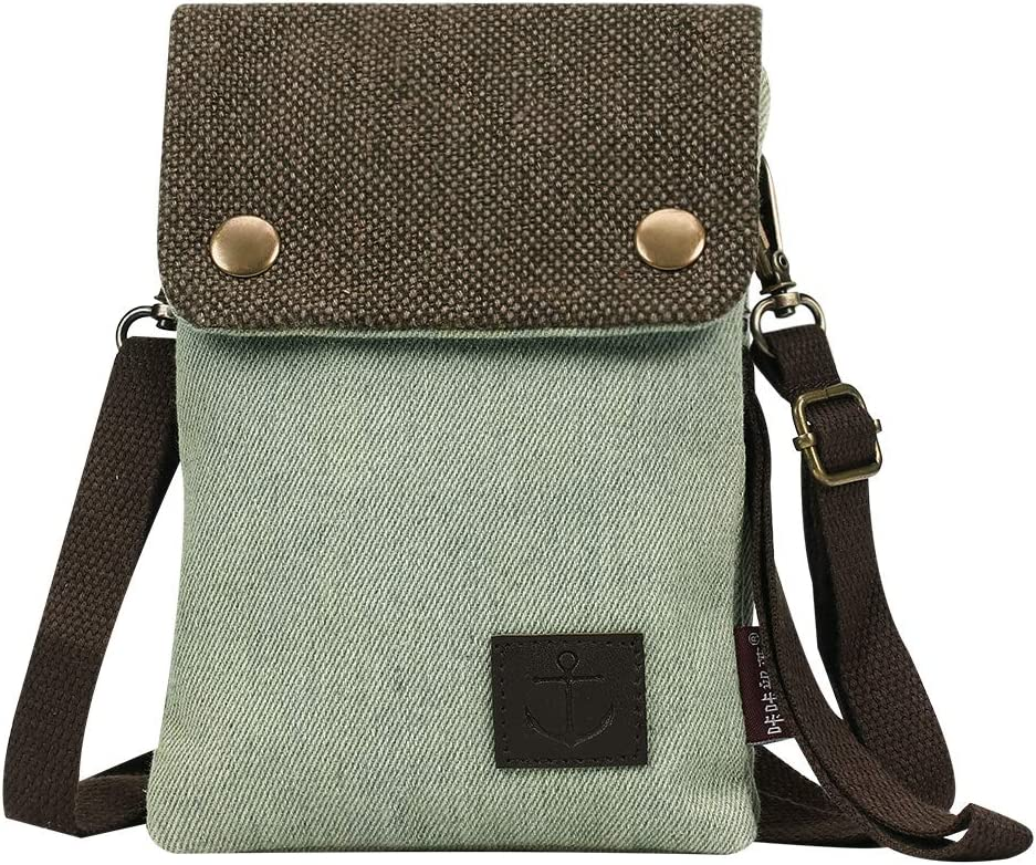 Gcepls Canvas Small Cute Crossbody Women Cell Phone Purse Wallet Bag with Shoulder Strap for iPhone 11 iPhone 6s 7 Plus 8 Plus iPhone XS MAX,Galaxy Note 9 S7 S10 Plus (Fits with OtterBox Case)-Green