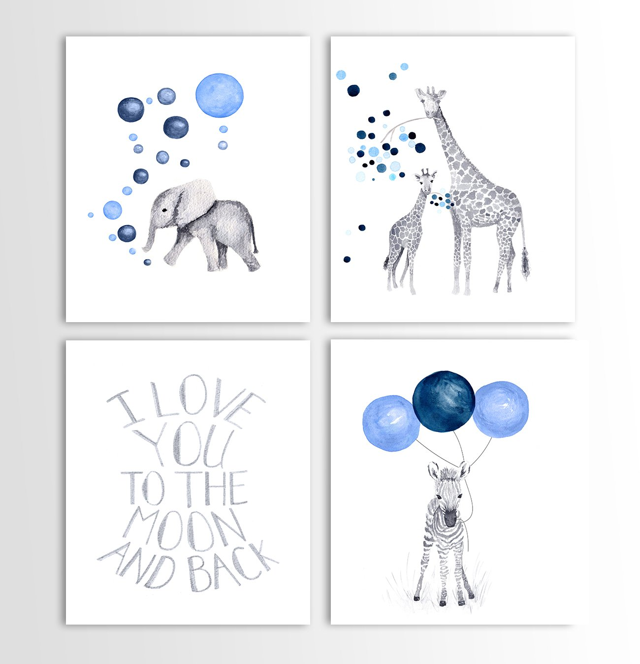 Baby Boy Room Decor, Boys Nursery Art, Art For Children, Zebra Art, Giraffe  Decor, Baby Elephant - Set of Four Art Prints