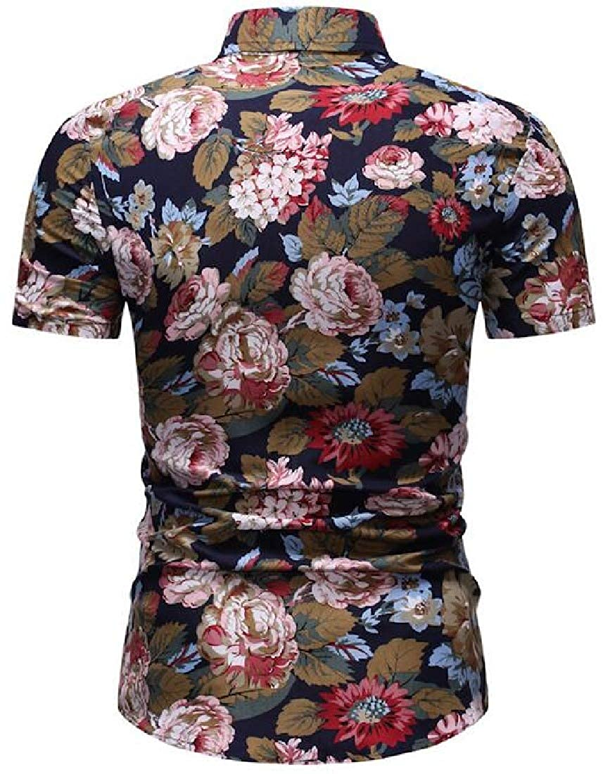 Zantt Men Short Sleeve Flower Printing Summer Beach Shirts Dress Work Shirt
