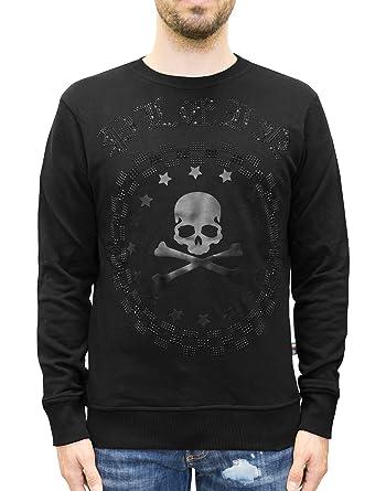 bb46764ef1bf9 Philipp Plein - Bullet - Crewneck Sweatshirt with Crystal Rhinestones Logo  and Embossed Skull Print (